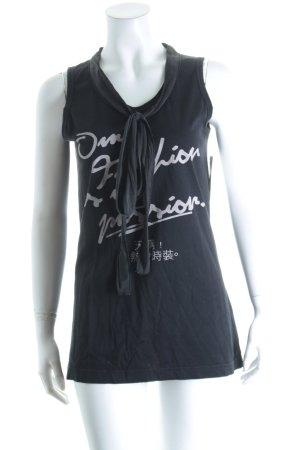 Dolce & Gabbana Top schwarz-hellgrau Schriftzug gedruckt sportlicher Stil