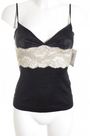 Dolce & Gabbana Trägertop schwarz-creme extravaganter Stil