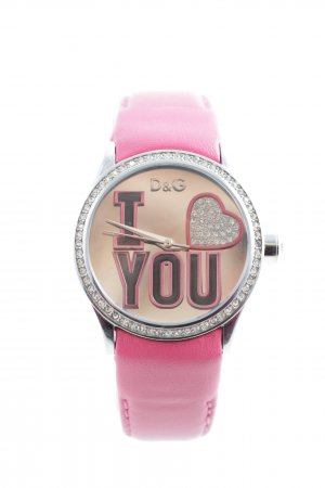 Dolce & Gabbana Watch With Leather Strap pink-silver-colored elegant