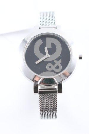 Dolce & Gabbana Uhr mit Metallband silberfarben-dunkelgrau klassischer Stil