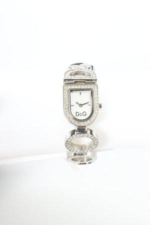 Dolce & Gabbana Uhr mit Metallband silberfarben Glitzer-Optik