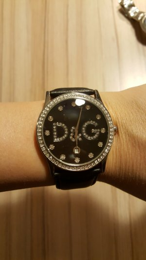 Dolce & Gabbana Watch With Leather Strap black leather