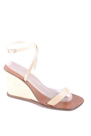 Dolce & Gabbana Wedges Sandaletten beige-cognac Retro-Look