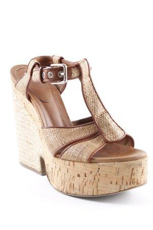Dolce & Gabbana Wedges Sandaletten hellbraun-braun Webmuster Materialmix-Look