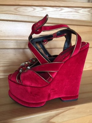 Dolce & Gabbana Sandales à plateforme rouge fluo-rouge foncé