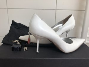 Dolce & Gabbana weisse Pumps Leder mit Schloss Hochzeit 39 Box Staubbeutel