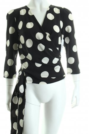 Dolce & Gabbana Wickel-Bluse schwarz-wollweiß Punktemuster Nude-Look