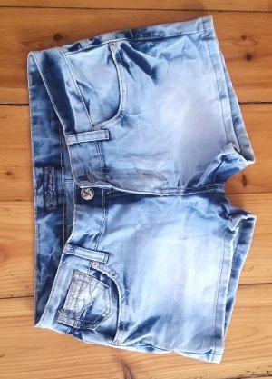 Pantalón corto de tela vaquera azul tejido mezclado
