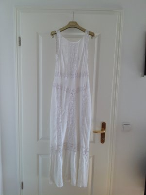 DOLCE VITA Kleid weiß Maxidress Gr. S 36-38 Spitze armfrei eng