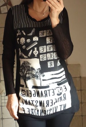 Dolce Vita, Longshirt/Pulli mit Muster, Strick, Ärmel Netz, Materialmix, vorne Aufdruck, Aufschrift, schwarz/sand/beige/taupe, Viskose, neuwertig, Gr. S (Gr. 36)