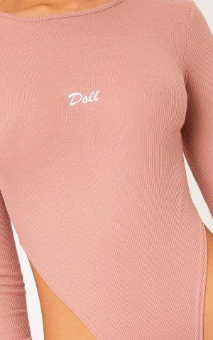 Doll Rose Rosa Rib Bodysuit Body Oberteil Pretty Little Thing