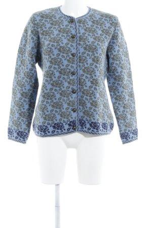 Dollinger Trachtenpullover stahlblau florales Muster extravaganter Stil