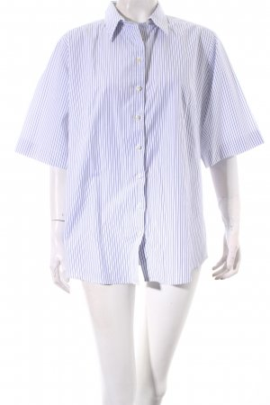Dolzer Kurzarm-Bluse weiß-dunkelblau Nadelstreifen schlichter Stil