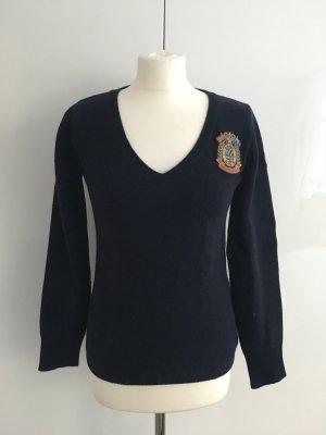 Donaldson dunkelblauer Woll-Pullover mit V-Ausschnitt, S