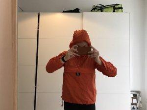 Donaldson Regenjacke orange mit Logo hinten drauf