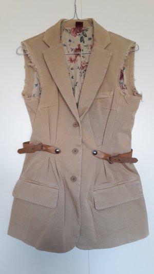 Dondup ärmelloser Blazer Weste Used-Look beige Lederapplikation Gr. 34 36