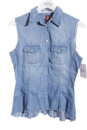 Dondup Jeansbluse hellblau Used-Optik