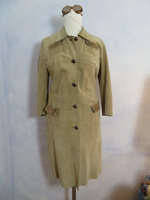 Dondup Mantel Made in Italy Luxus Wildleder Suede Trenchcoat IT 42 DE 36 38 S M Pastell hellbraun