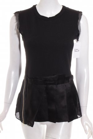 Dondup Seidentop schwarz Materialmix-Look