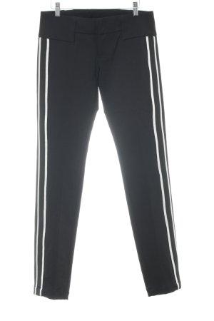 Dondup Stretchhose schwarz-silberfarben Streifenmuster extravaganter Stil