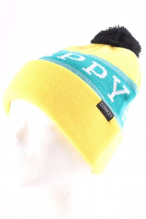 Donkey Knitted Hat yellow-petrol embroidered lettering fluffy
