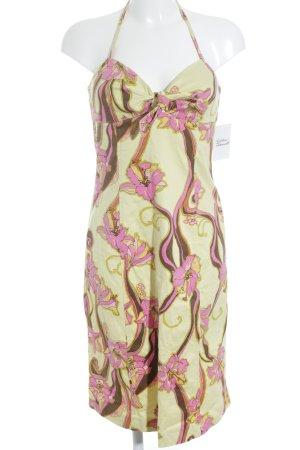 Donna by Hallhuber Neckholderkleid blassgelb-pink Blumenmuster Beach-Look
