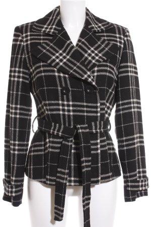 Donna by Hallhuber Übergangsjacke schwarz-creme Karomuster klassischer Stil