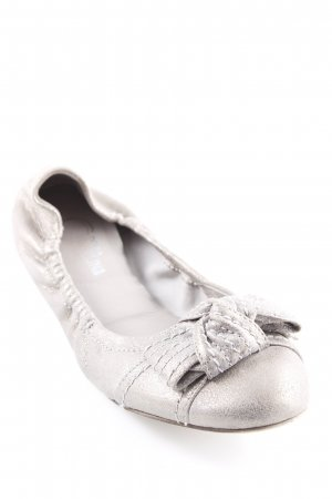 Donna Carolina faltbare Ballerinas grau Metallic-Optik
