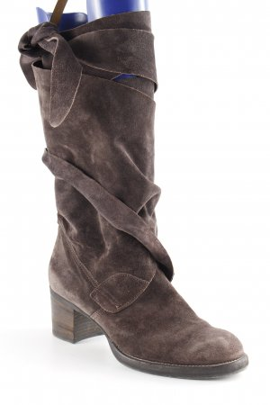 Donna Carolina Kurzstiefel dunkelbraun Wickel-Look