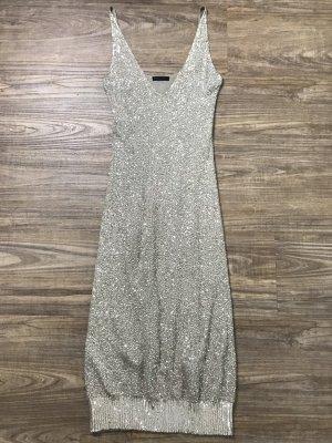 Donna Karan Kleid Pailletten beige Gr M