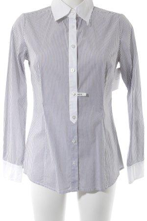 Donna Blouse à manches longues gris-blanc motif rayé style décontracté