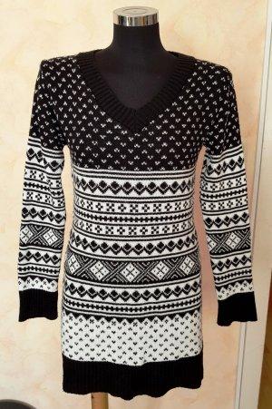 Donnafly Barcelona Strickkleid Long Pullover Norweger schwarz/weiß S