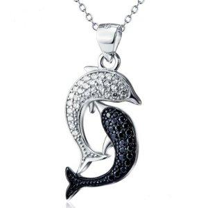 doppel Delphin Halskette 925 Sterling Silber