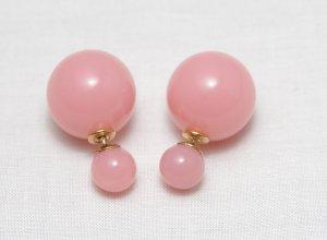 doppel perlen Ohrring Ohrstecker candy rosa