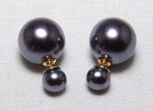 Boucles d'oreilles en perles gris anthracite matériel synthétique