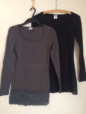 Vero Moda Long Shirt black-grey
