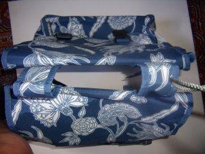 Shopper bleu acier-blanc polyester