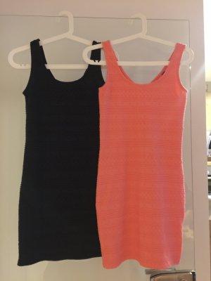 Doppelpack Sommerkleid dunkelblau und coral farbig