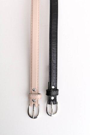 Doppelpack zwei schmale Gürtel Lederoptik Schlangenoptik Schlangenleder Schlange schwarz basic nude minimal