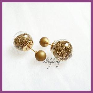 doppelperlen ohrstecker kleine kugeln gold