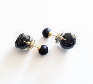 doppelperlen ohrstecker kleine kugeln Schwarz