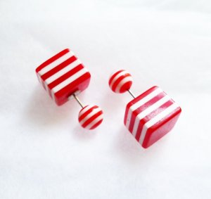 doppelperlen ohrstecker würfel streifen rot weiß