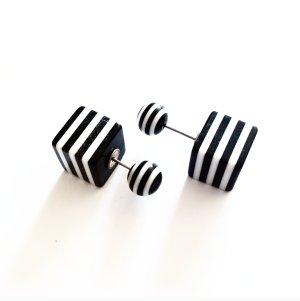 doppelperlen ohrstecker würfel streifen schwarz weiß