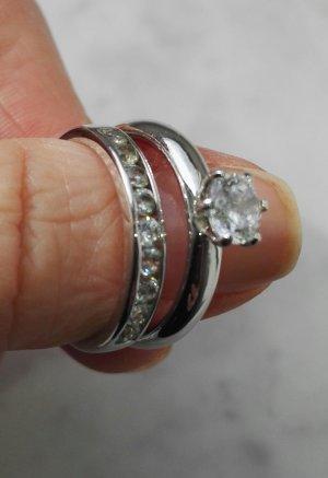Doppelringe / 925er Silber Sterling Silber rhodiniert / 19,1 mm bzw. Größe 60