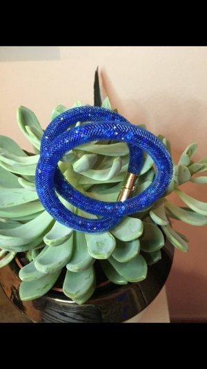 Doppeltes Armband Strass blau Gold NEU