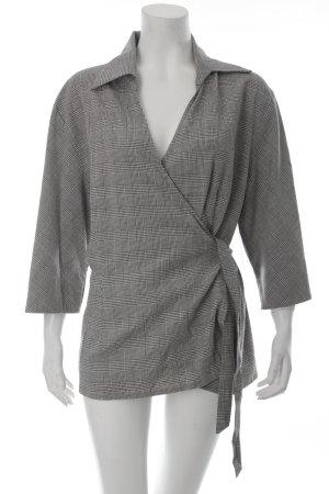 Doris Megger Wickel-Bluse schwarz-weiß Pepitamuster schlichter Stil