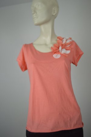 Dorothee Schumacher Shirt, Blumenapplikationen, apricot, orange Gr. S, 36, 38
