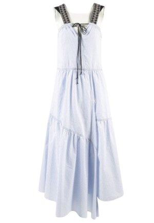 Dorothee Schumacher Robe longue blanc-bleu azur