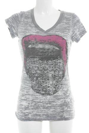 Dorothy Blue V-Ausschnitt-Shirt Motivdruck Skater-Look