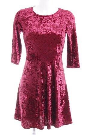 Dorothy Perkins A-Linien Kleid neonrot Samt-Optik